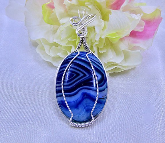 Beautiful Blue Onyx Striped Sterling Silver Pendant