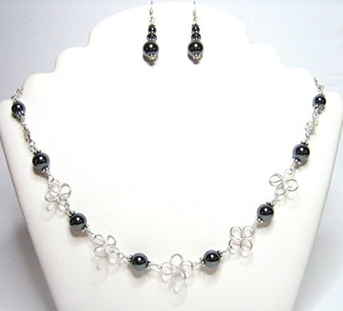 Hematite Sterling Clover Necklace Set