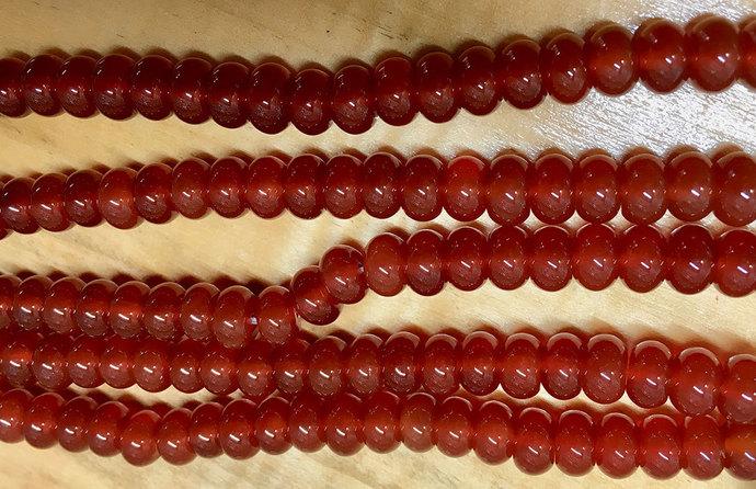 Carnelian Orange Gemstone Beads Smooth Translucent Rondelles 8 Inch Strand 8x5mm