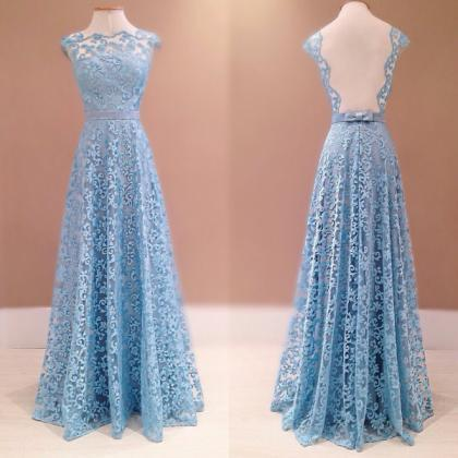 Lace Prom Dresses,Blue Prom Dress,Modest Prom by meetdresses on Zibbet