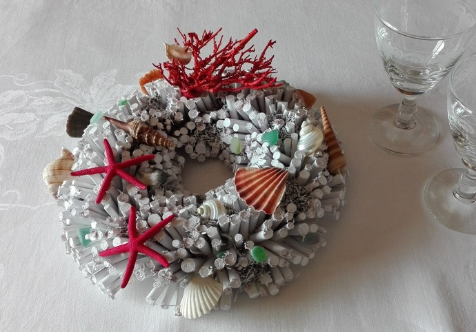 Sea theme centerpiece, handmade unique beach lover gift, shell and sea star
