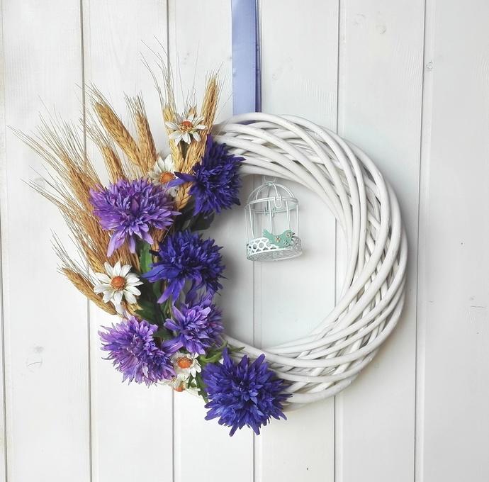 Italian indoor decor, cornflower wreath, country house fireplace decor, country