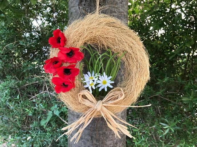 Summer flower wreath,  country house hostess gift, poppy arrangement, rustic