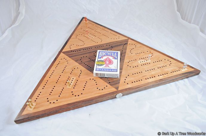 Cribbage Triangle Race - Black Cherry, Black Walnut and Maple