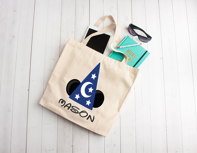mickey inspired tote bag, wizard party, personalized mickey bag, Custom Tote