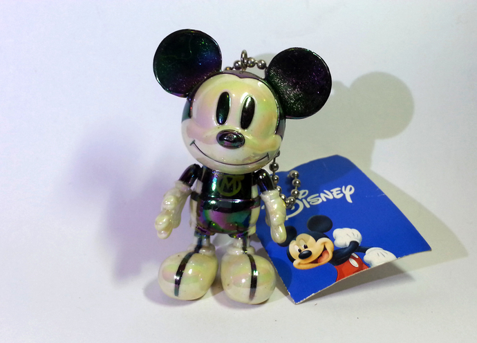 Japan Disney Iridescent Jointed Mickey Mouse In BLACK Spacesuit Cell Phone Charm