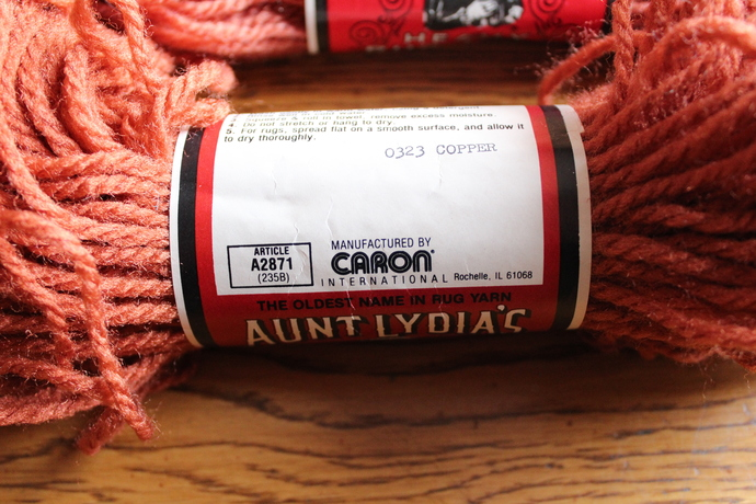SALE- Vintage Aunt Lydia's Heavy Rug Yarn - 100% Kodel Polyester- 4 copper
