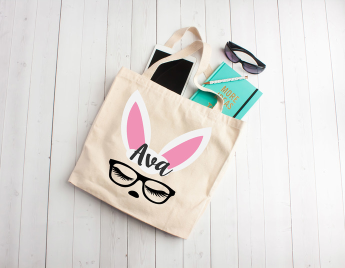 Bunny with glasses,  custom easter gifts,easter gift, personalized easter bag,