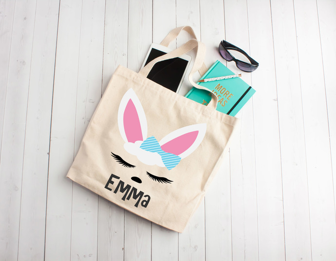 Bunny, custom easter gifts, easter gift, personalized easter bag, Custom Tote