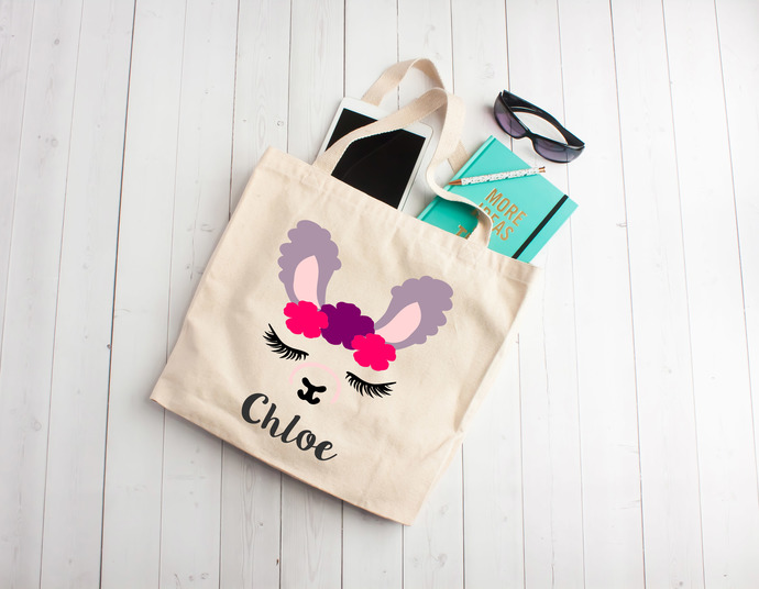 LLama, cute llama, custom gifts, kids gift, personalized  bag, Custom Tote Bag,
