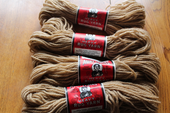 SALE- Vintage Aunt Lydia's Heavy Rug Yarn - 100% Kodel Polyester - Jute colored