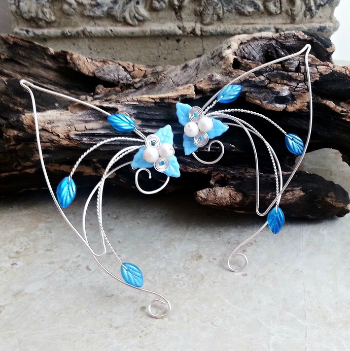 Aqua Blue Elf Ear Cuff Wraps
