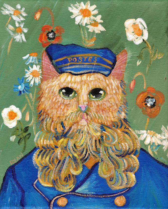 c1e3a912fee1 Portrait of A Postman Van Gogh Recreation Original Cat Folk Art Painting
