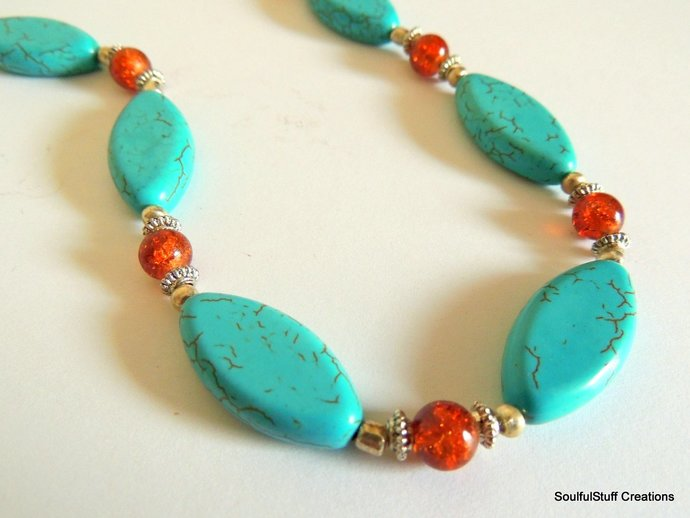 Turquoise and Orange Crackle Quartz Necklace, Western Jewelry, Native Style,