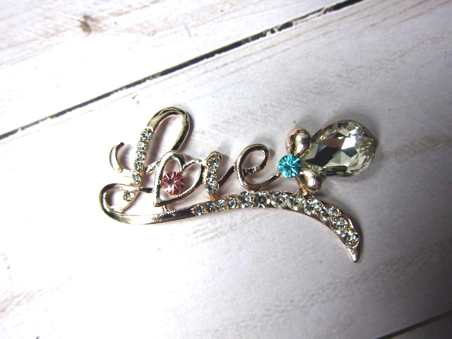 Rhinestone flat back LOVE button Embellishment with Rose Gold metal