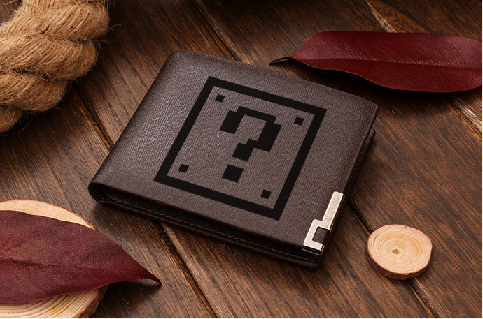 Mario Question Box Leather Wallet