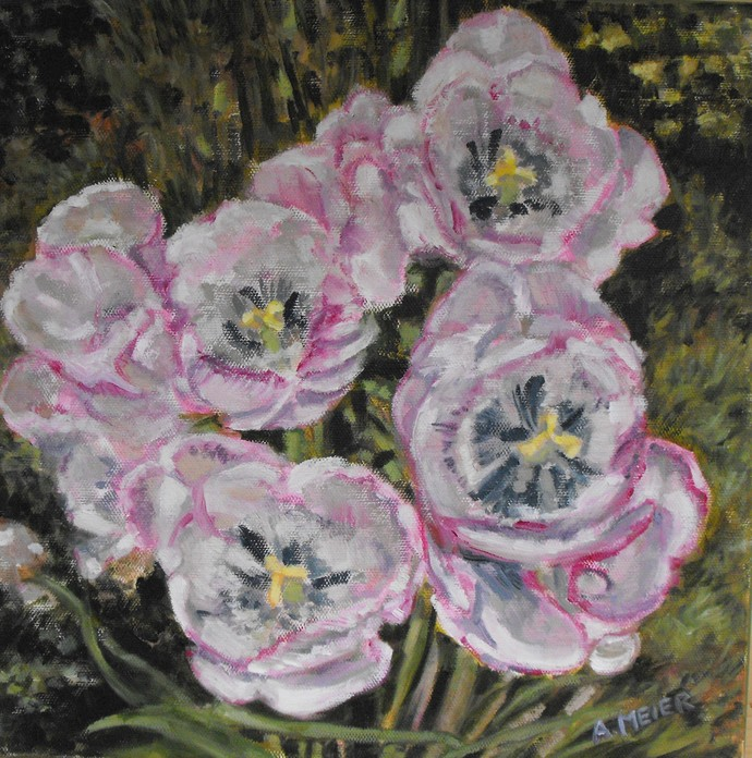 Original botanical painting, impressionist style, 12 X 12, oil on stretched