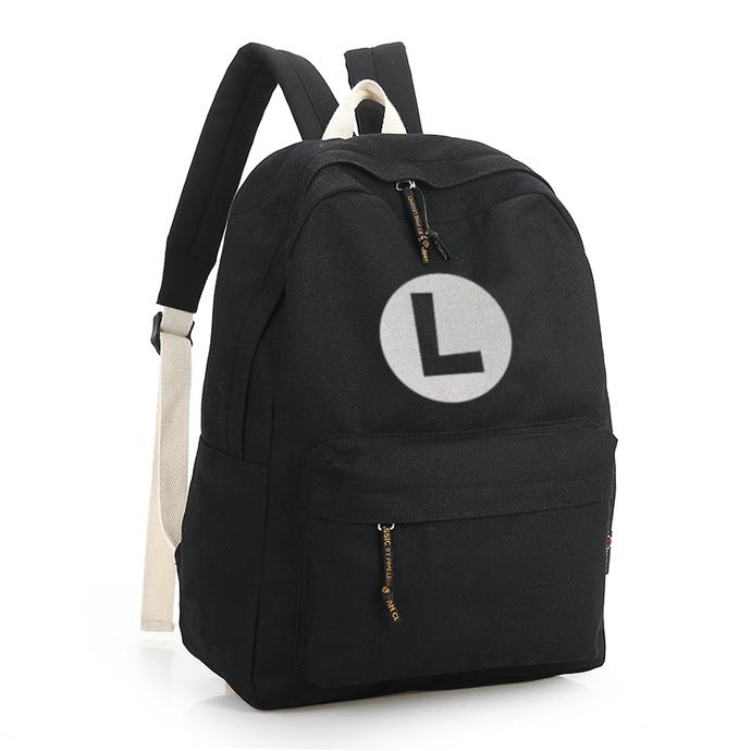 Luigi Black Canvas Backpack
