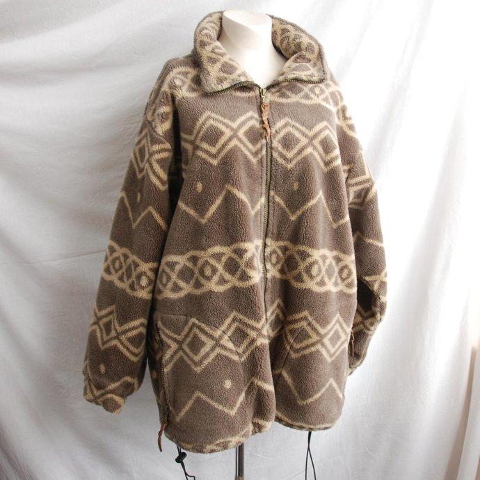Women's Vintage Fleece 1/4 Zip Jacket Unisex Size XL Brown Tan Geometric Pattern