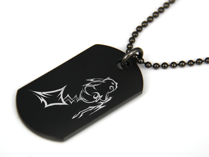 POKEMON PIKACHU Black Dog Tag Necklace