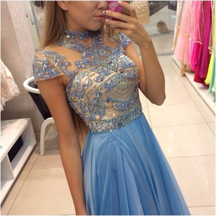 Simple Short Sleeve Elegant 2018 Prom Dresses,Prom Dresses,Formal Women
