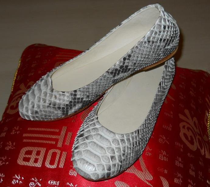 Handmade natural python leather ballet flats