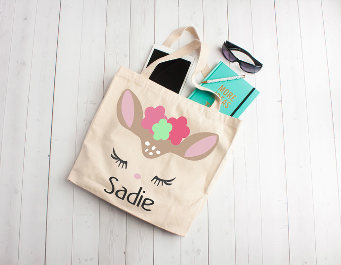 Girl Fawn, cute fawn, personalized girl bag, Custom Tote Bag, Personalized Kids