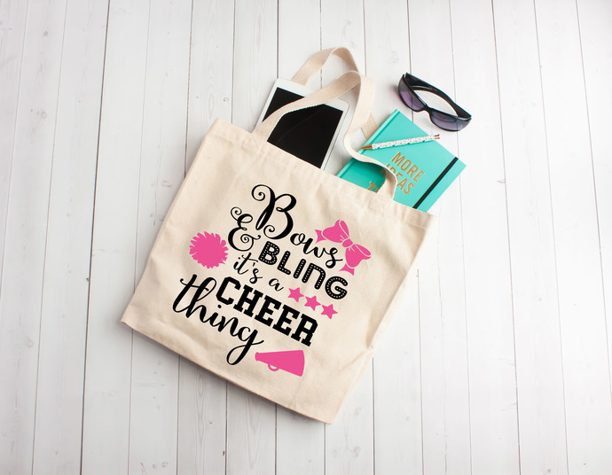 Bows and Bling its a cheer thing, teen gifts, tween,  personalized girl bag,