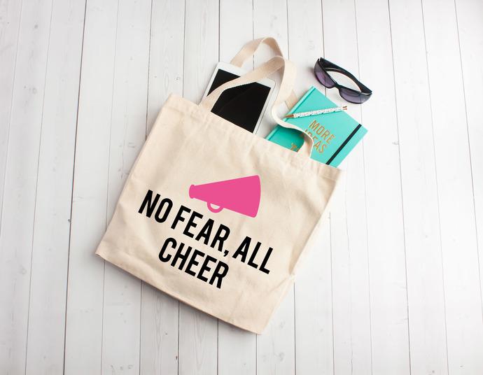 No fear all cheer,cheerleading bag, teen gifts, personalized cheer bag, Custom