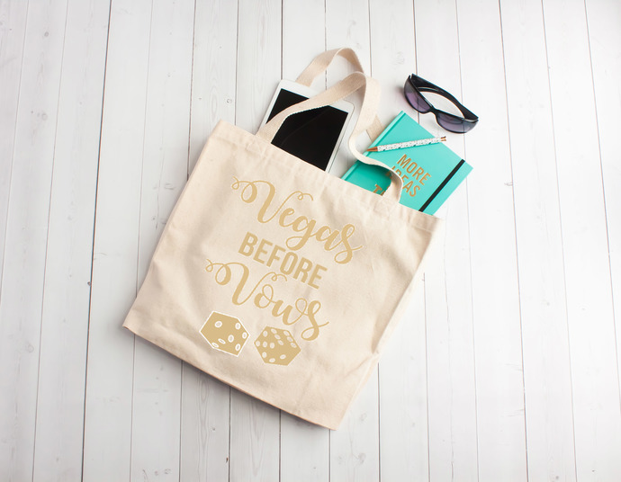 Vegas before vows, vegas bachelorette party,  custom tote bags, personalized