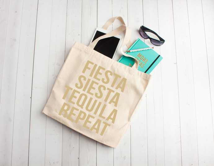 ee5c47687a4 Fiesta Sietsa Tequila Repeat, custom tote bags, personalized bridal party  bags, vegas, bachelorette party