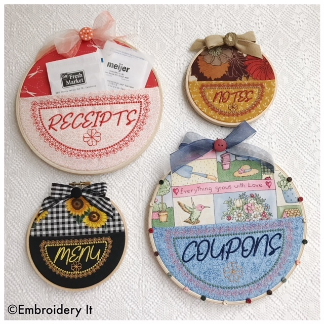Embroidery Hoop Pockets Machine embroidery designs - 4 designs in 2 sizes each