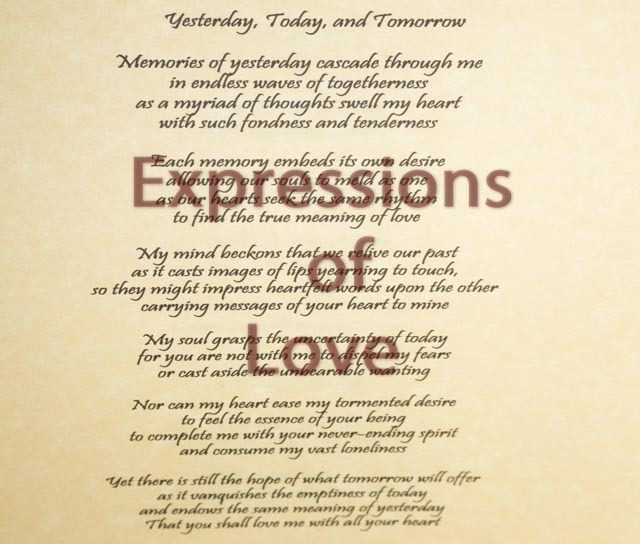 Romantic poem, Yesterday, Today,  and Tomorrow, Love poem, Love prose, Original