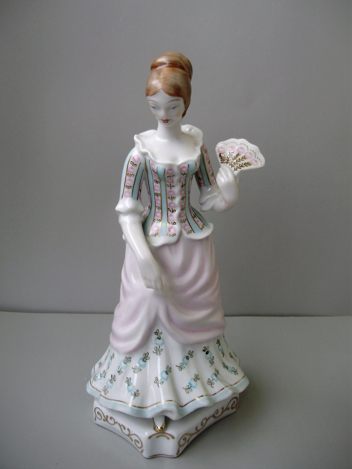 Large Vintage Hungarian Hollohaza porcelain,baroque lady,girl with fan