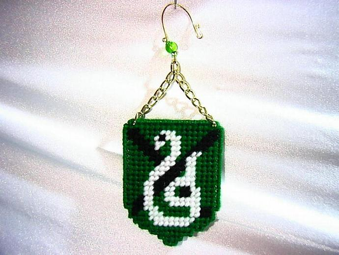 Slytherin House Shield Ornament- hand stitched