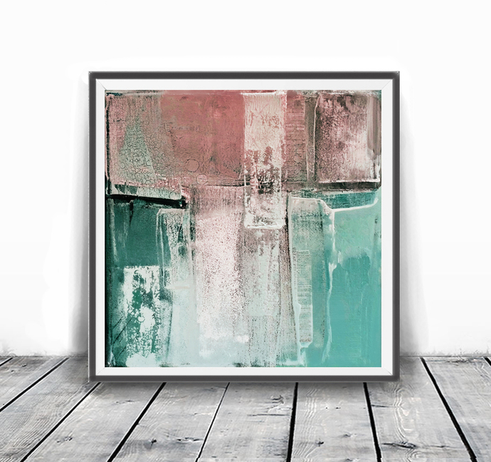Squre art, modern abstract, Industrial Decor, blush peach , white , teal, pink,