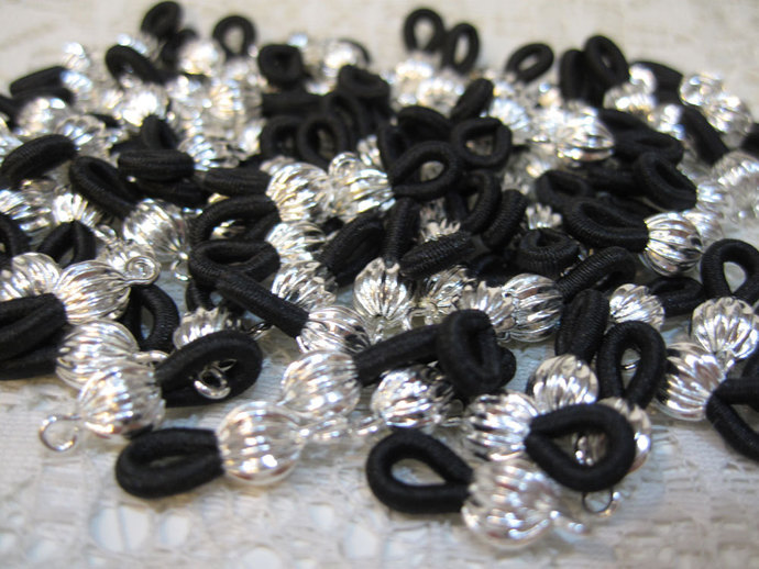 12 Silver Plated Eyeglass Chain Holders with Black Elastic Loops Made in the USA