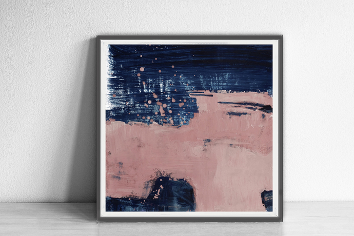 Abstract printable art, Navy blue brush strokes and light pink, Modern art