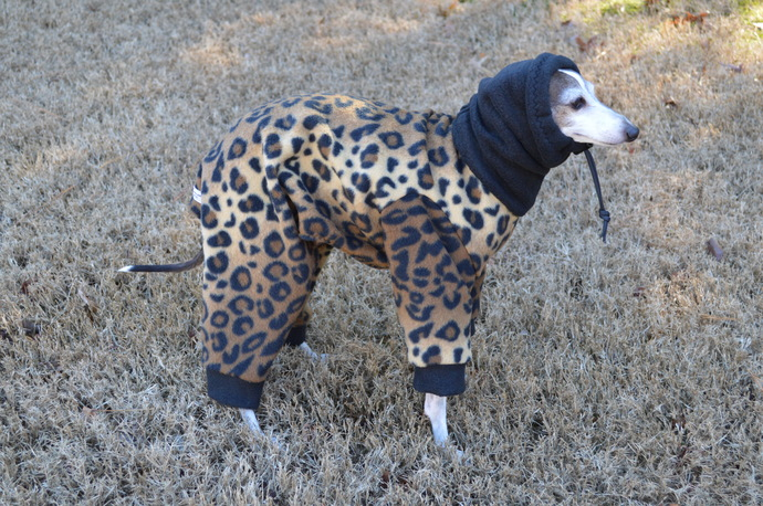 Leopard Print Fleece Snoodie Pajamas