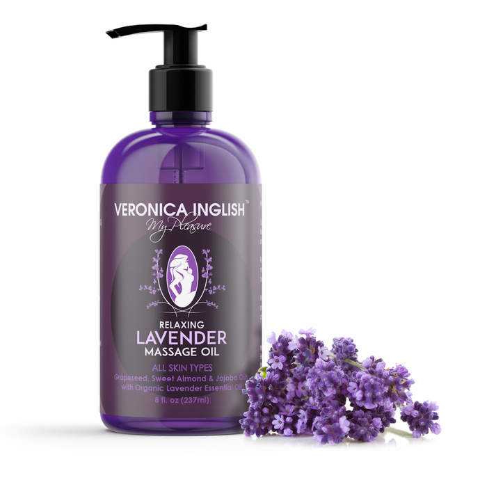 Lavender Body Oil - Pure Organic French Lavender Aromatherapy Massage Oil with