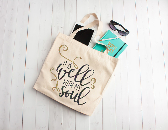 It is well with my soul, custom tote bag, cotton bible study bags