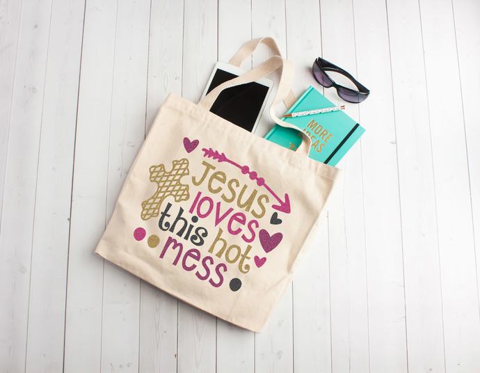 Jesus Loves This Hot Mess, personalized church tote bag, gift ideas