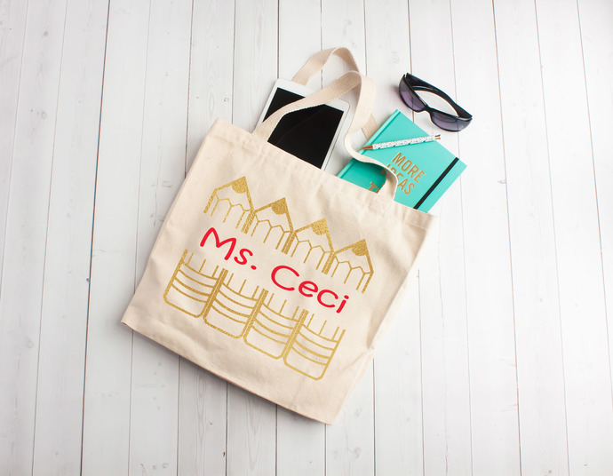 Personalized teacher tote bag, Custom by Pretty Party Favors on Zibbet