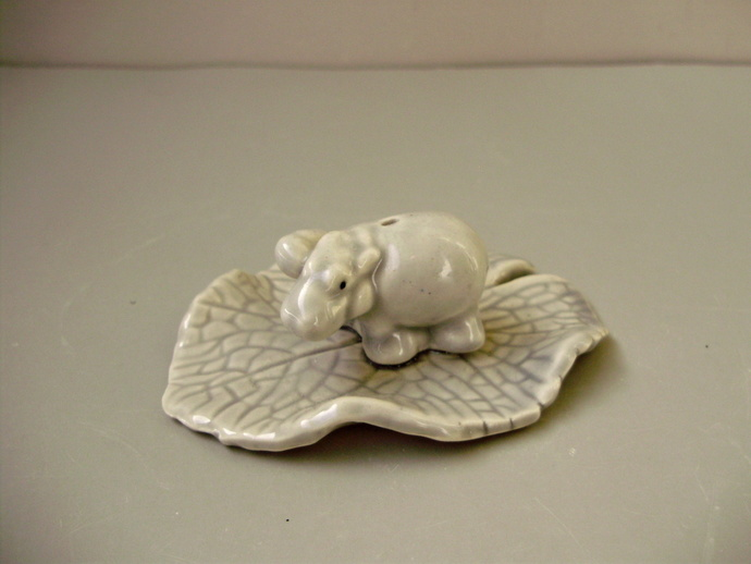 Vintage porcelain incense stick holder HIPPO,HIPPOPOTAMUS w.baby on lotus leaf