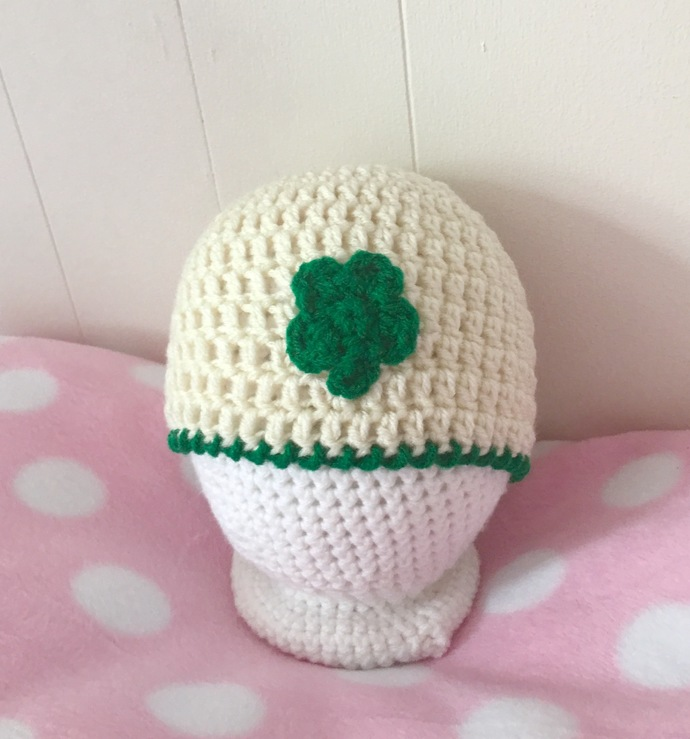 READY TO SHIP St. Patrick's Day Baby Hat - Newborn to Three Months