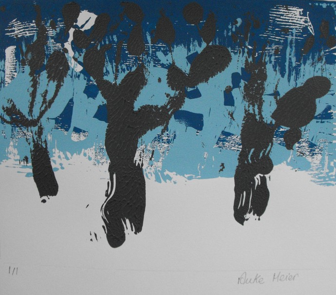 Original one of a kind monoprint, blue and grey, 8 X 10, contemporary landscape