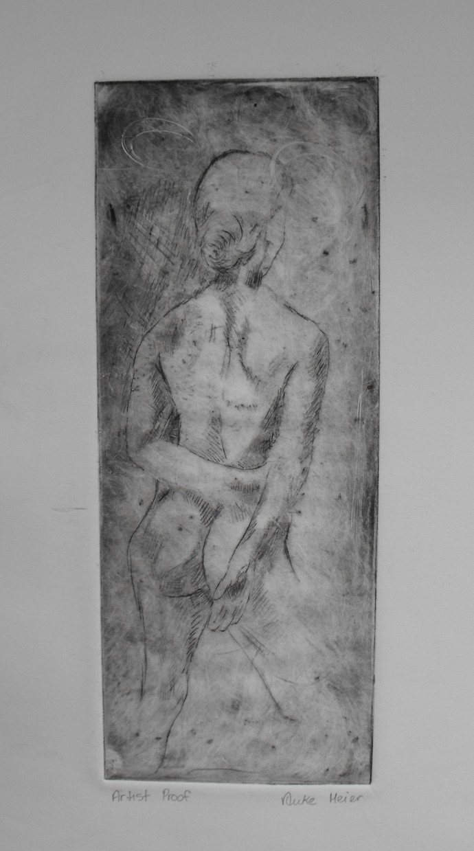 Limited edition, signed, hand printed etching, 5 X 12.75, Female Nude, dry