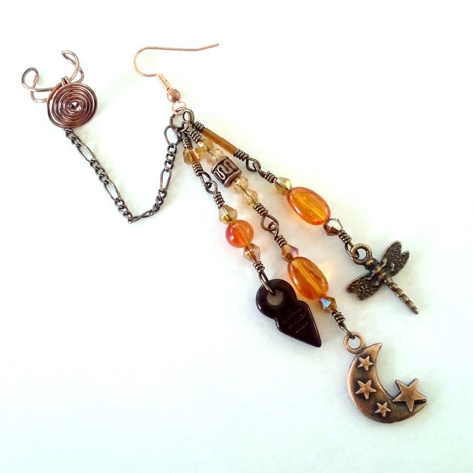 Celestial Amber Chain Ear Cuff Earring - Moon Dragonfly Dangle Ear Chain