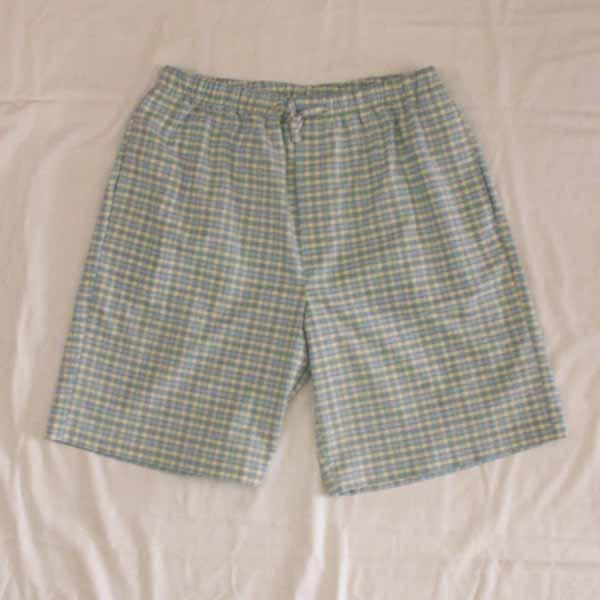 Blue / Cream Plaid Sleep Shorts