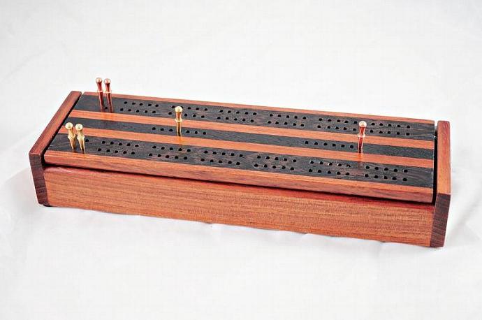 Dual Deck Wood Cribbage Board Box - Jatoba & Wenge